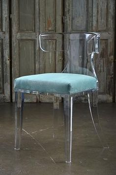 Veronica Acrylic Dining/Occasional Chair with Turquoise Passion Suede Upholstered Seat