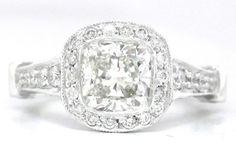 14k white gold Cushion cut diamond engagement ring bezel by KNRINC