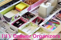 Drawer-dividers-complete-with-labels -- http://inmyownstyle.com/2012/01/in-detailed-order-organizing-my-desk-drawer.html#