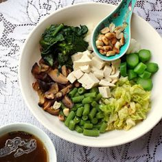 Thunder Tea Rice - a Chinese supersalad doused in a refreshing tea of mint and basil.