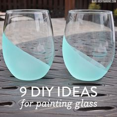 A few Summers ago, we bought some Martha Stewart glass paint and went to town. We love how easy it is to create beautiful DIY projects using glasses, vases, mason jars, etc. Here are a few more glass painting projects to try this weekend! All of these ideas would add a creative touch to your home, and make great gifts! Enjoy 1. Mercury Glass | 2. Sea Glass Vases 3. Tinted Glass Jars | 4. Chalkboard Wine Glasses 5. Metallic Confetti Tumblers | 6. Frosted Tumblers