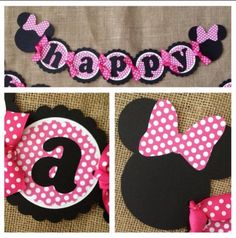 This listing is for a custom, handmade Minnie theme birthday party banner. It is made with quality card stock and is perfect to hang on a mantle