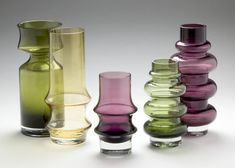 TAMARA ALADIN - Glass vases for Riihimäen Lasi Oy, 1960/70s, Finland. Glass Art Design, Design Art, Interior Design, Lassi, Vanity Set, Aladdin, Finland, Modern Contemporary, Scandinavian
