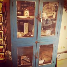 BEAUTIFUL ,distressed, blue wooden cabinet  £525.00