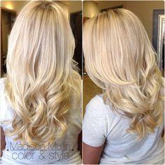 blonde highlight, long hair, curls, beach waves, soft blonde highlights, long hair cut by: MadisonMullin