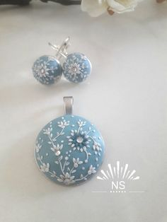 Handmade Clear Sky set Lace, earrings, necklace, blue, unique by natassasehi on Etsy Polymer Clay Charms, Handmade Polymer Clay, Polymer Clay Jewelry, Polymer Clay Embroidery, Embroidery Jewelry, Clay Set, Unique Gifts For Women, Play Clay, Lace Earrings