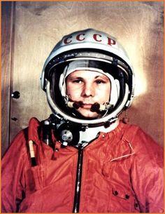 First Russian Cosmonaut Soviet Major Yuri Gagarin. 1st space flight in history, April 12, 1961.