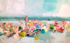 Fall is slowly coaxing us toward cooler weather here in the south, but we can't help but dream of summer weekends on the coast, thanks to Teil Duncan's pastel beachside paintings.