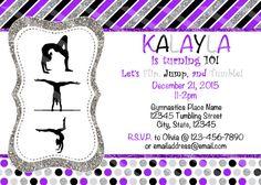 Gymnastics Digital Invitation  Purple by NanasPartyPrintables