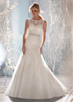 Best A-line Wedding Dresses : Stunning Organza & Satin A-line Illusion Bateau Neck Raised Waistline Weddin