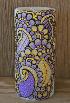 Henna Style Painted Candle, Light Purple, Sunshine Yellow, and Chocolate Brown, Ivory Pillar Candle