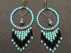 Turquoise-Howlite-Glass-Bugles-Turkey-Turquoise-Bronze-Accents-Earrings