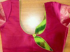 Pink green design we blouse Churidar Neck Designs, Saree Blouse Neck Designs, Dress Neck Designs, Sari Blouse, Patch Work Blouse Designs, Simple Blouse Designs, Stylish Blouse Design, Designer Blouse Patterns, Fashion Blouses
