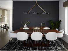 Dark Accent Walls, Accent Walls In Living Room, Dining Room Walls, Dining Room Design, Black Dining Room Chairs, Black And White Dining Room, Dark Grey Dining Room, Warm Dining Room, Walnut Dining Table