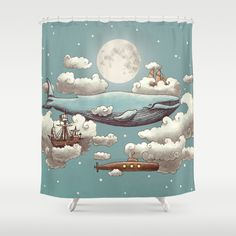 Shop Link: http://goo.gl/WRG6Hf  #Ocean Meets #Sky #Shower #Curtain by @TerryFan