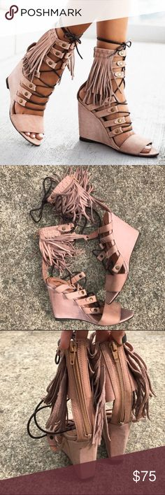 Free People Solstice Fringe Wedges in Blush Worn twice + have some sign of wear // black scuffs as shown in photos.  Imperfections are reflected in price. Euro size 37. Made in Portugal.   🚫TRADES 💚BUNDLES - 20% off 2+ listings Free People Shoes Wedges