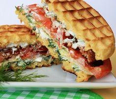Savory Cheddar Waffle BLT With Egg Recipes — Dishmaps