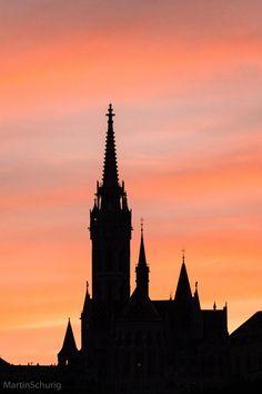A silhouette of Matthias Church (Hungarian: Mátyás-templom) is a Roman Catholic church located in Budapest, Hungary.