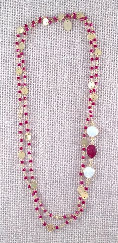 Rosary Style Beaded Ruby  Necklace & Baroque by ANIKjewelry