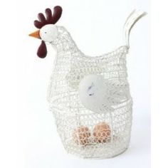 Ivory Metal Wire Chicken Egg Holder by Heaven Sends
