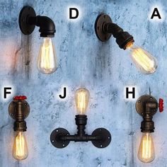 Iron Lamp BASE E27 Industrial Retro Water Pipe Shape