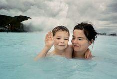 Bjork and her son Sindri. The Blue Lagoon in Iceland, 1993 Photographer Juergen Teller