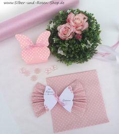 Schmetterlings-Tischkarten mit Druck + Punkte Servietten rosa