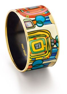 FREY WILLE - can't find any info on the materials used for this piece...found the pin on an enamel board...gorgeous colors and designs