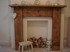 Hand Crafted Fire Surround Reclaimed Wood by ReclaimedMooseMan Wooden Fire Surrounds, Wooden Fireplace Surround, Fake Fireplace, Living Room With Fireplace, Fireplace Surrounds, Home Living Room, Fireplace Ideas, White Fire Surround, Chimney Breast