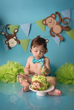 Blue & Green Monkey Smash Cake Photography Session | First Birthday party idea | First Birthday Portraits | CT Smash Cake Photographer | www. elizabethfrederic... CT Newborn Photographer Elizabeth Frederick Photography specializing in CT Newborn, CT Baby, CT Weddi
