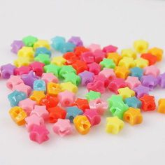200pcs 10022 Charms Mixed New Plastic Mini Star Bead Fit Jewelry Making ON SALE
