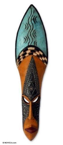 GIVING Ghanaian Wood TRIBAL Blessing MASK Africa New