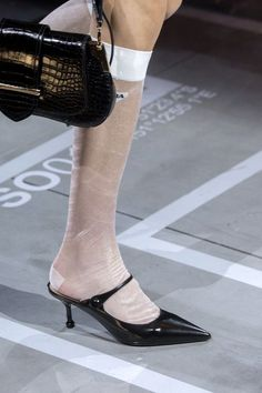 Spring summer 2019 shoe trends – 100 best sandals and shoes for SS19 Ugly Shoes, Sock Shoes, Shoe Boots, Shoe Bag, Chanel Style Jacket, Plastic Shoes, Prada Spring, Walk In My Shoes, Caged Sandals