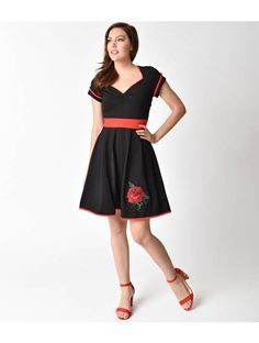 Sourpuss Black & Red Rose Cap Sleeve Dollface Flare Dress