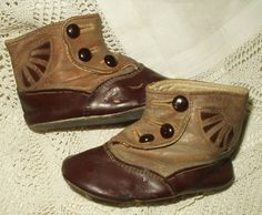 Victorian Edwardian Baby Doll Button Shoes Two Tone Brown Cut Away Side $85.00 - The Gatherings Antique Vintage