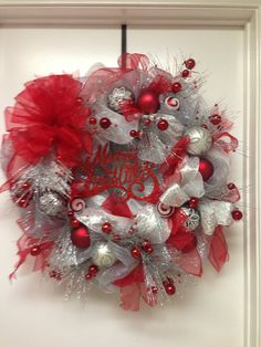 Silver and red Christmas deco mesh wreath . Christmas Trimmings, Christmas Mesh Wreaths, Red Christmas, All Things Christmas, Christmas Time, Christmas Crafts, Christmas Decorations, Wreaths And Garlands, Deco Mesh Wreaths