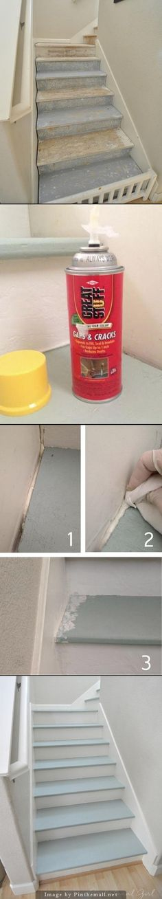 Carpeting ripped off stairs revealed gaps on both sides of the risers and treads… Backyard Kitchen, Diy Kitchen, Kitchen Ideas, Redo Stairs, Paint For Kitchen Walls, Staircase Remodel, Staircase Makeover, Painted Stairs, Basement Remodeling