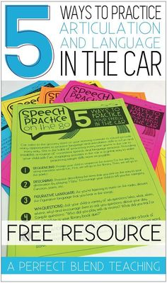 Car rides to the grocery store or the morning commute to school provide many opportunities for parents and students to practice language and articulation skills in a fun and easy way. This FREE handout is perfect to provide parents at the beginning of the Articulation Therapy, Articulation Activities, Speech Therapy Activities, Speech Language Pathology, Speech And Language, Language Activities, Speech Therapy Organization, Receptive Language, Speech Room