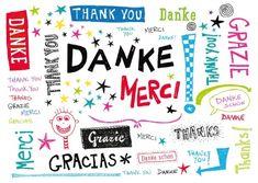 Dankeskarte international verschiedene Sprachen Danke Grazie Thank you Merci gemalt Schriftzug niedlich