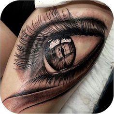 Best Eye Tattoo Design On Girl Thigh - Tattoo Tatoo 3d, Ojo Tattoo, Unique Tattoos, Beautiful Tattoos, Small Tattoos, Family Tattoos, Fake Tattoos, Temporary Tattoos, Body Art Tattoos