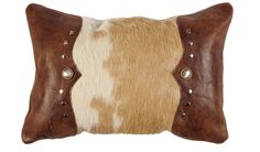 rectangle hair on hide and leather pillow