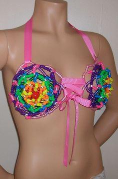 Kandi beaded rainbow bikini top with pink ribbon by Kanditoybox, $35.00
