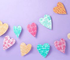 #Handmade Stamped #Heart Garlands