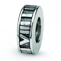 Sterling Silver Reflections Roman Numeral Spacer Bead