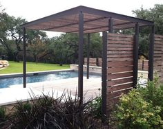 Custom Modern Freestanding Patio Cover in Pool Deck