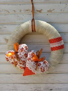 Ajtódísz őszi színekben , Aranycerna, meska.hu Burlap Wreath, Hearts, Christmas Ornaments, Holiday Decor, Home Decor, Decoration Home, Room Decor, Christmas Jewelry, Burlap Garland