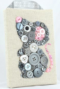 Button Art, Painted With Buttons Matilda the Grey Mouse - Button Art, Vintage Buttons by PaintedWithButtons, $80.00