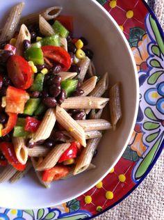 Mexican Pasta Salad black beans, pasta, green pepper, red pepper, corn ...