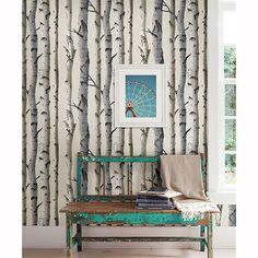 Birch Tree Wallpaper! Bring the outdoors in with this awesome wallpaper with shine to it.