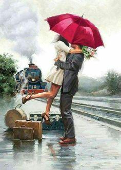 Картинки с влюбленными парами под зонтом
